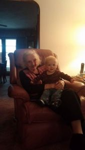Great Grandma Ida Mae with gt granddaughter Addy, for who The Long Home Now and Then is waiting.